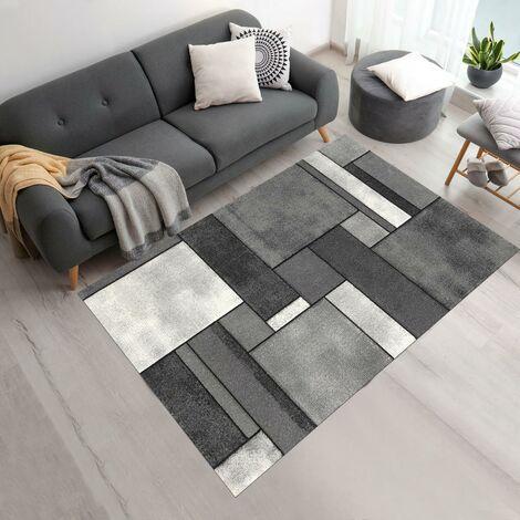 40x60 - UN AMOUR DE TAPIS - Petit Tapis d Entree Interieur - Tapis Salon Moderne Design Géométrique Poils Ras - Tapis Entree Multicolore