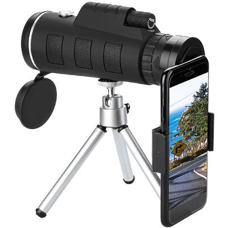 40X60 Zoom Optique Telescope Monoculaire Boussole + Trepied + Clip Universel Pour Telephone