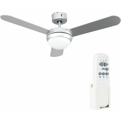 "42"" 107Cm Metal Grey Ceiling Fan + Frosted Glass Light Shade & 3 x Silver Blades + Remote Control"