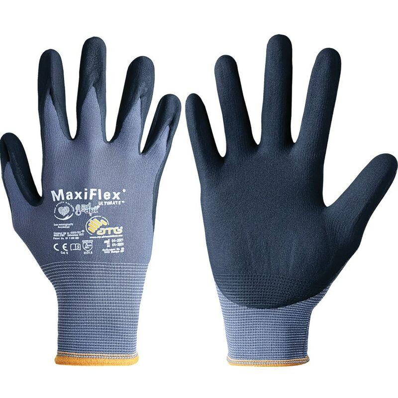 Image of Atg 42-874 MaxiFlex Ultimate Palm-side Coated Grey/Black Gloves - Size 10
