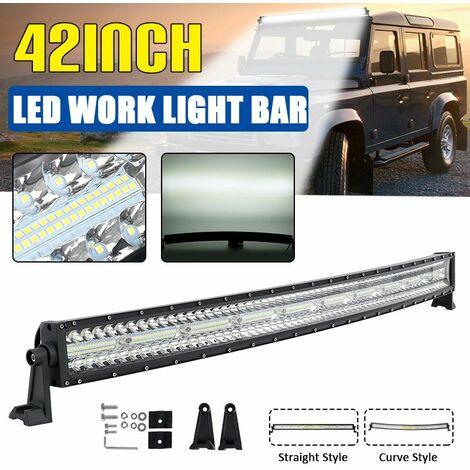 (42 inch)?(WHITE) 960W 320led Car LED Work Light Bar Driving Light Fog Lamp IP68 Spot Flood Combo Beam DC10-30V For UTV KTM Je0p MPV Boat Offroad Pickup ATV Truck 6000K (Curved)