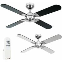 "42"" Metal Brushed Chrome Propeller Ceiling Fan + 4 x Black Blades & Handy Remote Control"