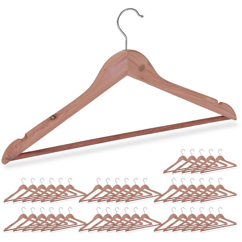 42 x Kleiderbügel Zedernholz, Mottenschutz im Kleiderschrank, edles Design, eingekerbt, B: 44 cm, Bügel Set, natur - RELAXDAYS