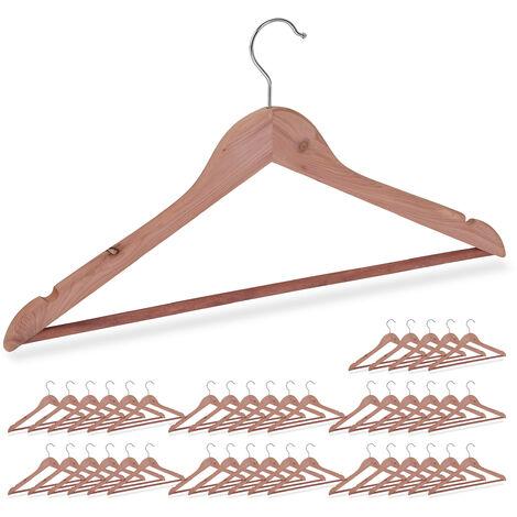 42 x Kleiderbügel Zedernholz, Mottenschutz im Kleiderschrank, edles Design, eingekerbt, B: 44 cm, Bügel Set, natur
