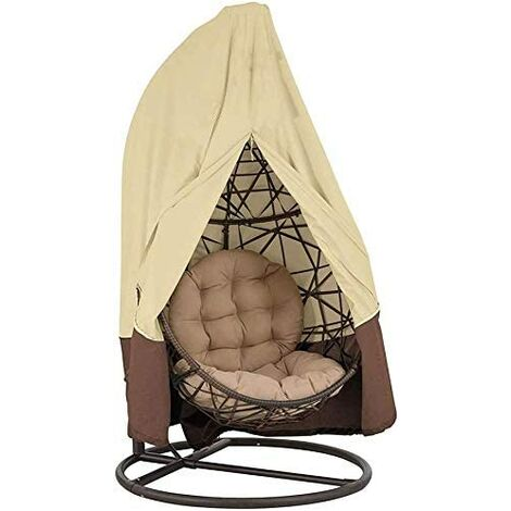 420D Protective cover for hanging chair with Oxford zipper 190 x 115 cm / 232 cm x 203 cm Waterproof protective cover for garden and outdoor furniture 190 x 115 cm (Einzelsitz) beige