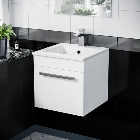 420mm Wall Hung 1 Drawer Vanity Unit Cabinet with Ceramic Sink Basin Gloss White