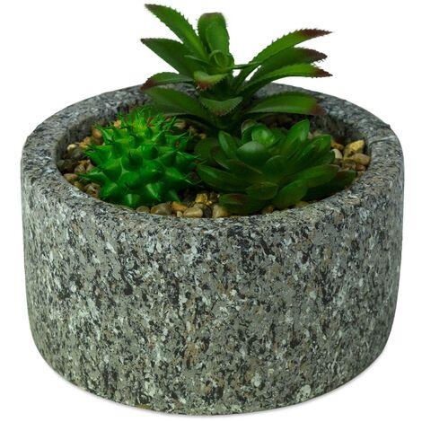425145 Planta suculenta artificial ArtFlowers maceta realista de granito Ø16 cm