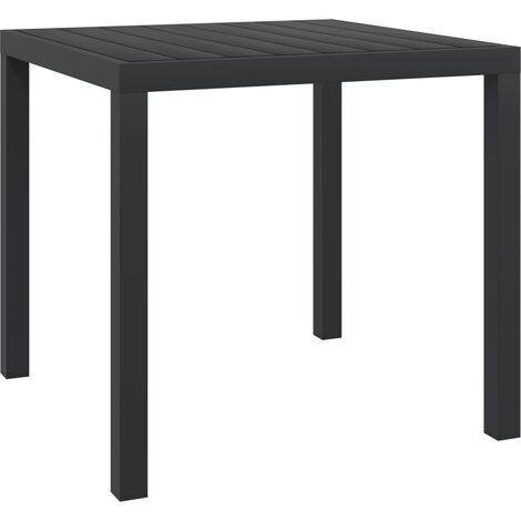 Garden Table Black 80x80x74 cm Aluminium and WPC