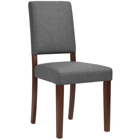 4288 Juego de 2 sillas 45x43.5x90.5cm Tela gris Madera maciza Contemporáneo Marrón