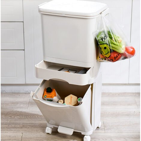 42L Rubbish Trash Bin 3 Compartments Rolling Recycling Bin Waste Can Indoor Outdoor
