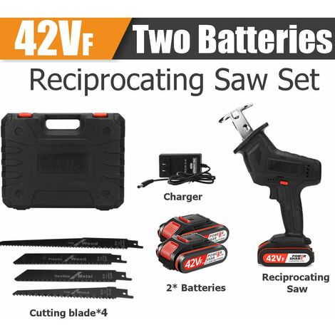 42VF cordless reciprocating saw set + 2x Li-ion batteries and Y charger (42VF 2 battery)
