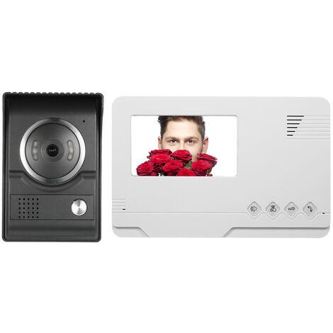 4.3 Pouces 1 Bouton D'Interphone Video Filaire Interieur Exterieur Blanc