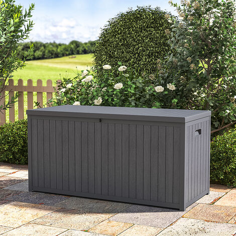 430L Outdoor Garden Storage Box Plastic Chest Trunk Cushions Tools Container