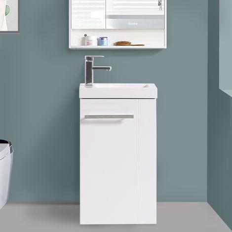 440mm Gloss White Floor Standing Cloakroom Basin Vanity Unit Bathroom Furniture