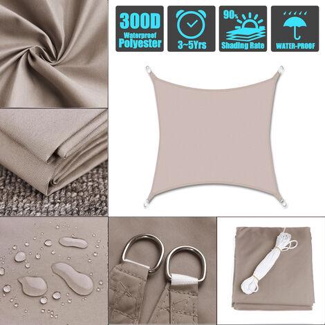 4*4*4m kaki 300D imperméable à l'eau de voile d'ombrage 280GSM Polyester Oxford Farbic Protection UV