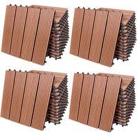 44x Dalles de terrasse en bois composite WPC Classique terracotta 30x30cm Jardin