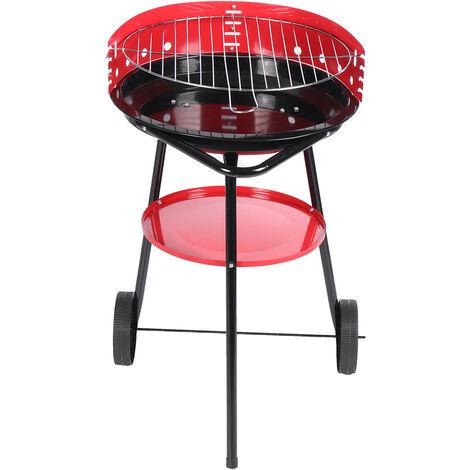 44x44x73cm Barbecue Charbon portable avec chariot à bouilloire rouge