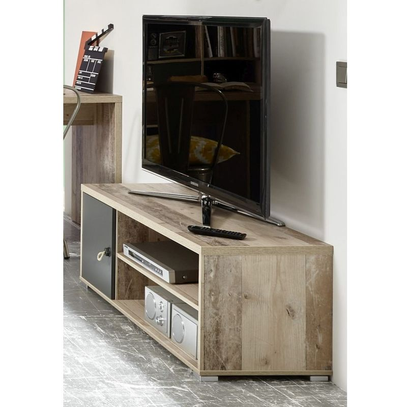 45-576-U9 MERLIN Eiche Old Style hell Nb. / Anthrazit grau Lowboard Hifi Kommode Fernsehkommode Wohn-'SW13952'