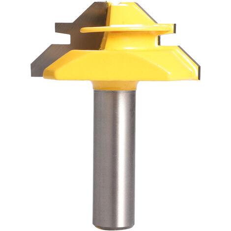 45 ¡ã Tratamiento de la madera de bloqueo de inglete Router Bit herramienta de fresa Tenon Drill-Bit 1/4 * 2 1/4 * 1-3 / 8 1/2 * 2 Vastago opcional, Multicolor, 3 #