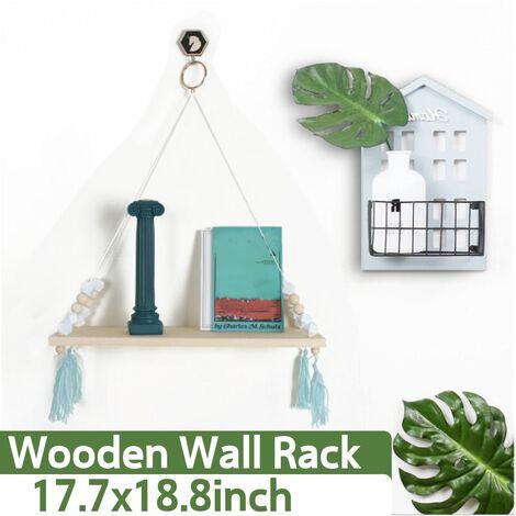 45 cm Balancoire en bois corde suspendue montage mural organisation de rangement étagère armoire plante pot de fleur intérieur extérieur vert gland vert