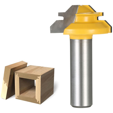 """45 Degrees 1/2"""" Shank 1-3/8"""" Small Lock Miter Router Bit"""