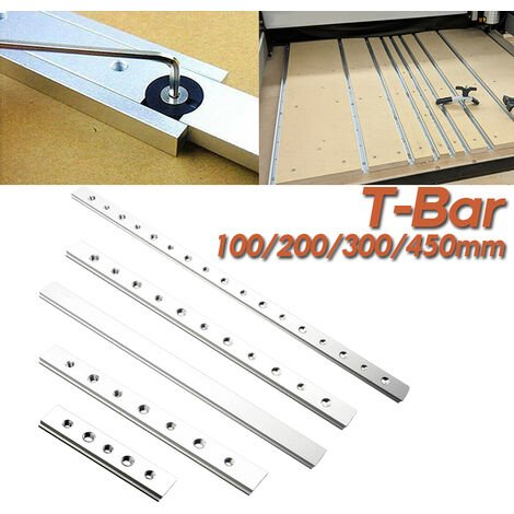 450mm alliage d'aluminium T-Bar curseur ensemble pour T-Track travail du bois T-slot onglet piste d'arrêt charpentier bricolage outils de travail du bois 450mm T curseur + fil Barre en T de 0,45 m de type M6M8