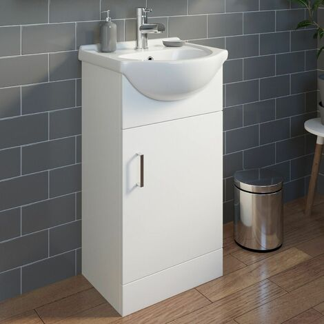 450mm Bathroom Vanity Unit & Basin Sink Gloss White Tap + Waste