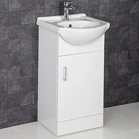 450mm Floorstanding Bathroom Vanity Unit & Basin 1 Tap Hole White