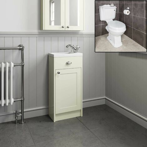 450mm Traditional Bathroom Ivory Vanity Unit Sink Basin Close Coupled Toilet WC