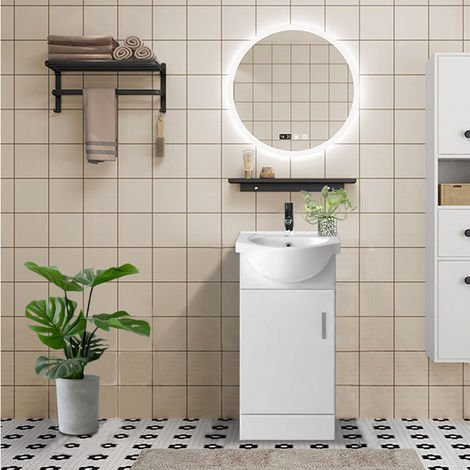 450mm White Cloakroom Basin Vanity Unit Sink Cabinet Bathroom Storage Furniture