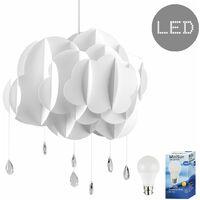 45cm Children's Bedroom White Rain Cloud Raindrop Ceiling Pendant Light Shade + 6w LED GLS Bulb - 3000K Warm White