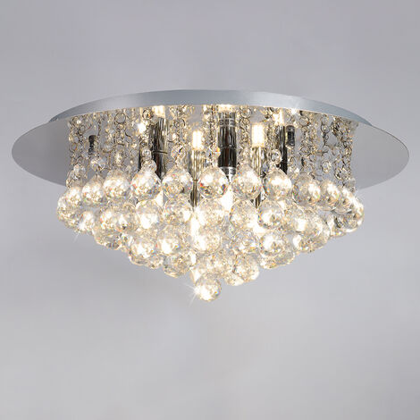 45CM LED Round Crystal Droplet Modern Chrome Crystal Ceiling Lights, White