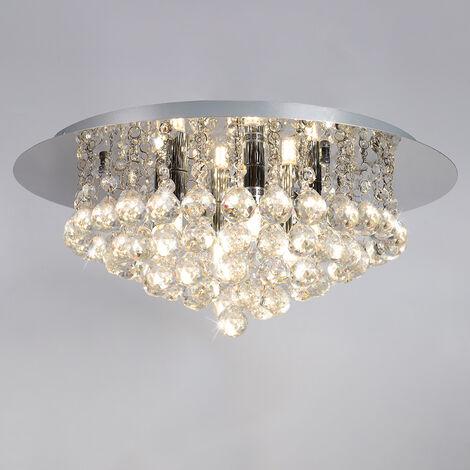45CM LED Round Crystal Droplet Modern Chrome Crystal Ceiling Lights