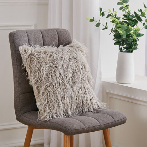 45CM Square Fluffy Faux Fur Plush Cushion Only Cover,Light Grey
