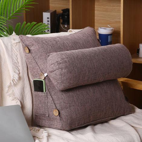 45cm Wedge Back Pillow Rest Sleep Neck Cushion Gray Sofa Bed Cushion