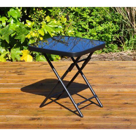 45cm x 45cm Black Glass Folding Garden Furniture Side Table