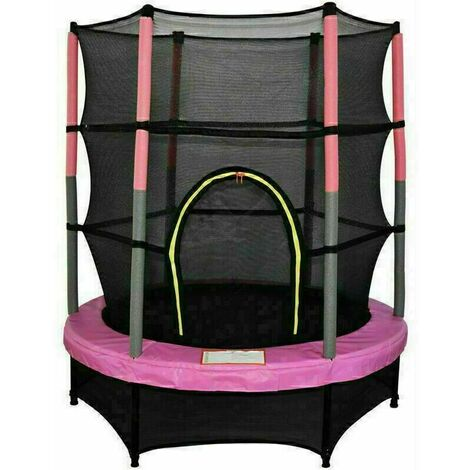 """4.5FT Mini Trampoline Set with Enclosure Safety Net Outdoor 55"""" Kids Toy Pink"""