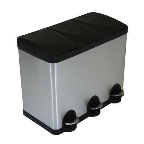 45L cuisine en acier inoxydable recycler pédale poubelle 3 compartiment