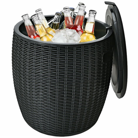 45L Patio Cool Bar Table Outdoor Cooler Ice Box w/ Lid Side Handles & Buckle