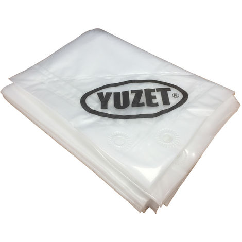 4.5m x 6m Yuzet Clear Tarpaulin + 10 Ball Bungees 120gsm Heavy Duty Ribbed Strength Sheet Market Stall Cover