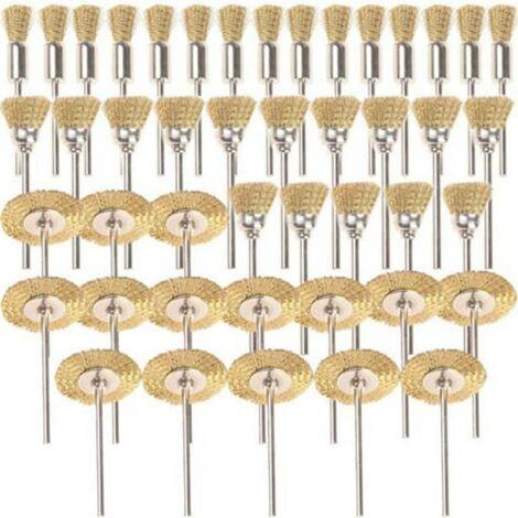 45pièces laiton brosses brosses brosse métallique fil de Dremel Proxxon Kit de polissage acier Brosses Disques de Polissage Brosse brosse ronde tige à disque Ø 3,17mm