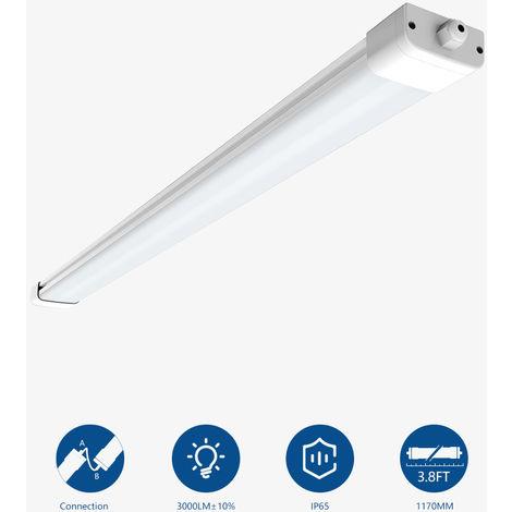 45W 150cm Pantalla Estanca Tubo Led 4000K, Regleta Fluorescente Led de Superficie para Interiores, Exteriores, Garaje (4200Lm)