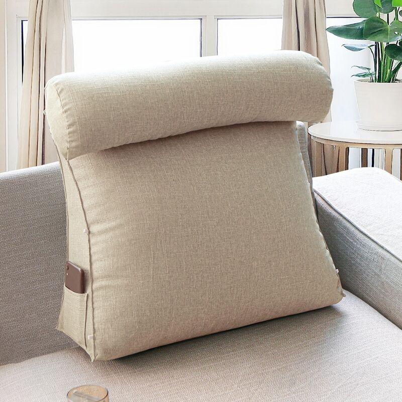 45x45x20cm Oreiller de soutien doux réglable de coussin de cale de dos de triangle de flammé (beige)