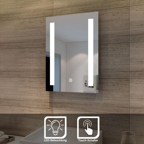 45x60 Miroir de salle de bains avec éclairage LED Miroir Cosmétiques Mural Lumière Illumination avec Commande par Effleurement SIRHONA