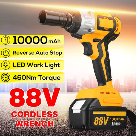 460 NM 10000mAh Soft Handle 88V Cordless Cordless Electric Impact Wrench Drill LED Screwdriver Wrench Set