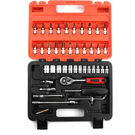 46Pcs Coche Barco Moto Destornillador Llave de vaso Juego de reparación Kit de herramientas + Estuche