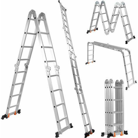 4.7M Aluminium Folding Ladder Step Ladder Multi-Purpose Extension Platform Bench