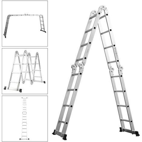 4.7m Aluminium Multi-Purpose Step Ladder Folding Telescopic Ladder Extendable