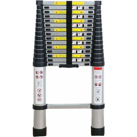 4.7M Échelle Télescopique en Aluminium Bricolage Pliable Échelle Escamotable Multifonction Charge 150 kg, Noir
