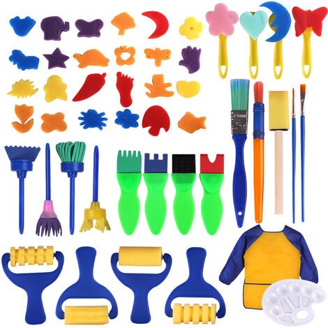"""main image of """"25PCS Children Paintbrushes Washable Paint Brushes Sponge Painting Brush Set for Toddler Kids Early DIY Learning Toys Finger Paints sponges Art Supplies Gifts for Acrylic Crafts Rock Tempera Paints,model:Multicolor 25pcs"""""""